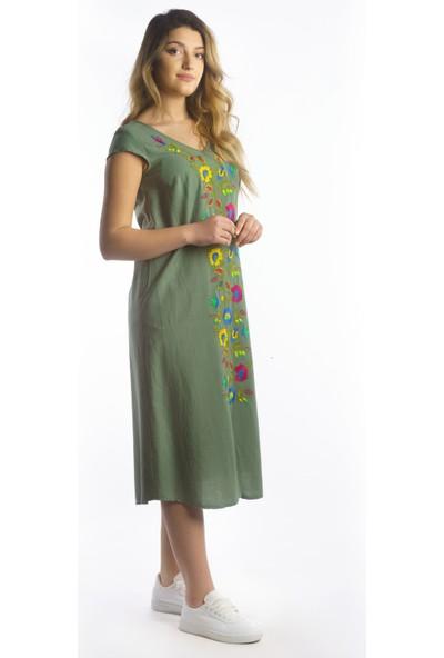 Ege Nakış Işlemeli V Yaka Sırt Detaylı Haki Keten Elbise