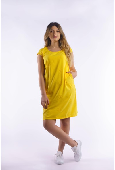 Ege Sarı Ribana ve Nakış Detaylı %100 Pamuk Elbise