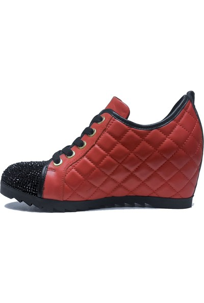 Mammamia Hakiki Deri Gizli Dolgu Kapitone Kadın Ayakkabı DKA295