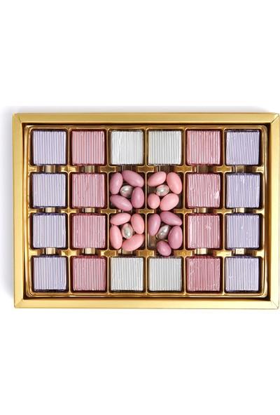 Sıroğlu Çikolata S Chocolate Rosy Yaldızlı & Draje Hediyelik Çikolata Kutu