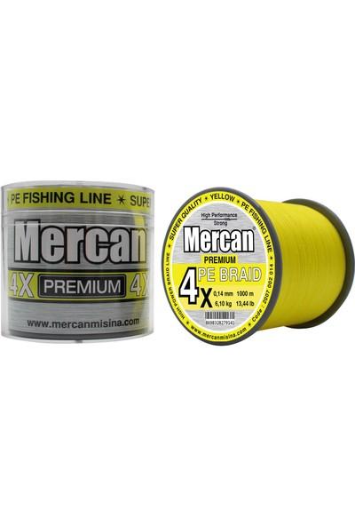 Mercan Pe Örgü Premium 4x Ip 1000 M Fosforlu Sarı Misina