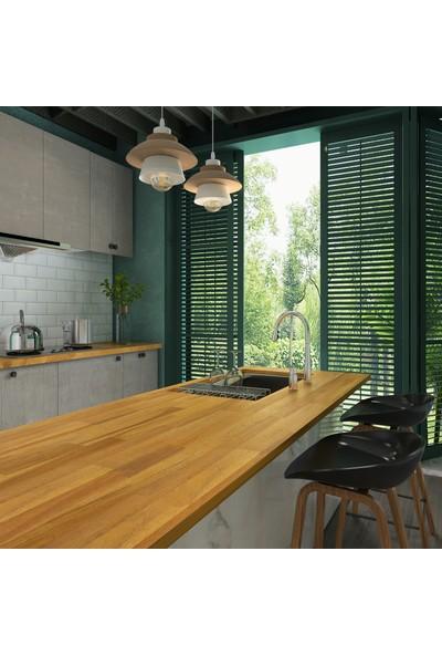 INTERBUILD REAL WOOD Interbuild Mutfak Tezgahı,akasya Masif Ağaç 2200X635X26 Mm, Hardwax Yağı ile Kaplı.1 Adet,altın Tik