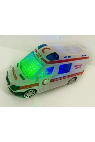 Kardelen 3D Işıklı Sesli Sirenli Pilli Oyuncak Ambulans Araba 112 Acil Kurtarma