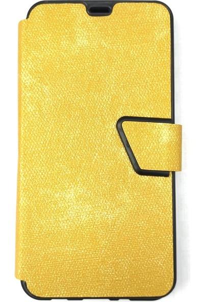 Pars Samsung A70 Kapaklı Kopça Kilit Cüzdan Para / Kart Bölmeli Kılıf Gold (Sarı)