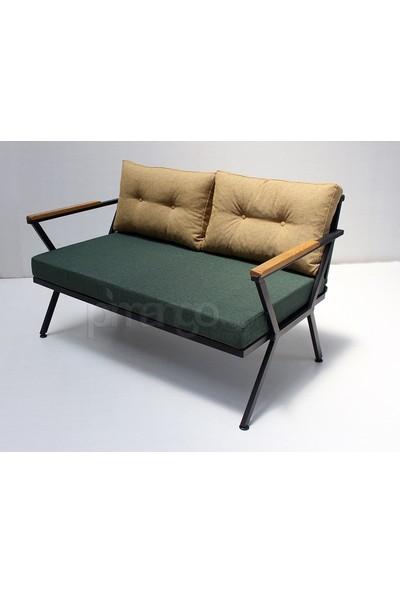 Pimango Demonte Metal Bahçe Mobilyası Çay Seti Yeşil Sarı 2 + 1 + 1