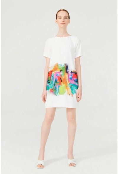 Birelin Kanvas Baskılı Elbise