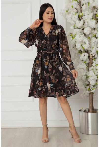 Kalopya Bayan Anvelop Eteği Fırfırlı Şifon Elbise 1360