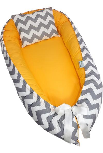 Bera Baby Berababy Maxi Gri Zigzag ve Sarı Babynest Bebek Yuvası