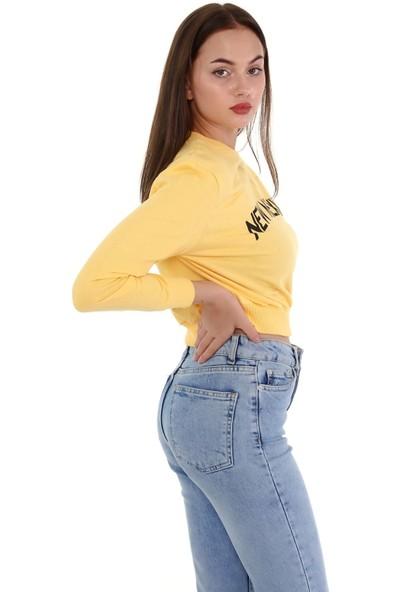 Trender 2 Ip O Yaka Şardonsuz Crop Baskılı - New Mexico Kadın Sweat Sarı