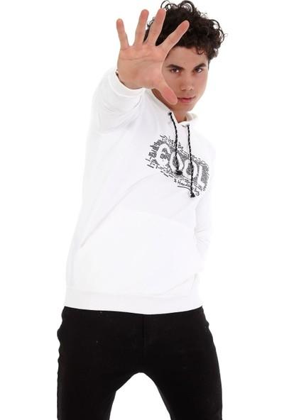 Trender 3ip Baskılı Şardonsuz Kanguru Cep Kapşonlu- Cool Erkek Sweat Ekru