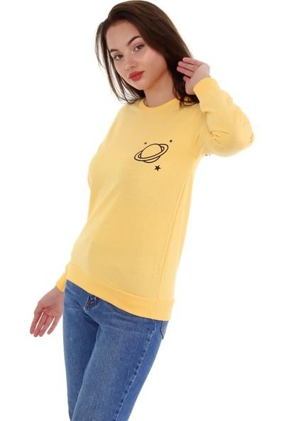 Trender 2 Ip O Yaka Şardonsuz Baskılı - Saturn Kadın Sweat Sarı