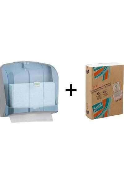 Vi̇alli̇ Z Katlı Kağıt Havlu Dispenseri 300 'lü Mavi + Select Z Havlu Eko 1 Koli