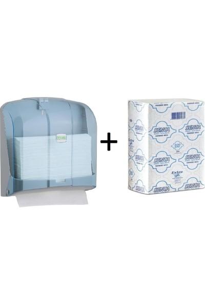 Vi̇alli̇ Z Katlı Kağıt Havlu Dispenseri 300 'lü Mavi + Senta Z Havlu Standart 200 'lü 1 Koli