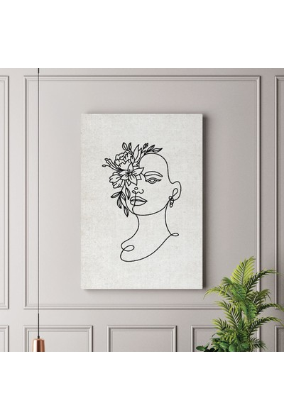 Tabloonline Dijitalya | Çiçek Yüzlü Kadın Dekoratif Kanvas Tablo