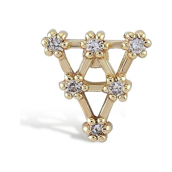 Piano Jewellery 6 Taş Üçgen Pırlanta Tragus Piercing 14 Ayar