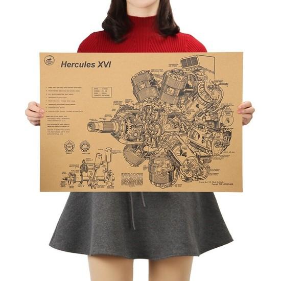 Herkul Xvı Radyal Motor Yapı Diyagramı Kraft Poster - 35X50CM