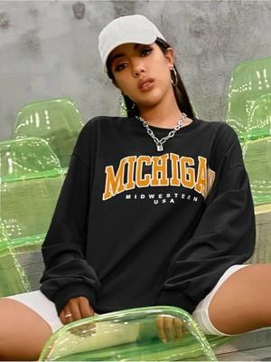 Twenty One Mad Girls Baskili Siyah Sweatshirt