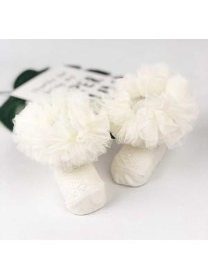 Le Mabelle Ekru Kokoş Kız Bebek Çorap