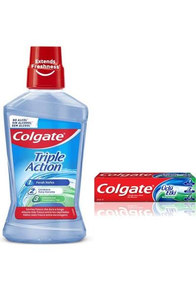 Colgate Triple Action 3 Lü Etki Ağız Bakım Suyu 500 Ml.alkolsüz+50 ml Colgate Diş Macunu 3 Lü Etki.nane Ferahlığı