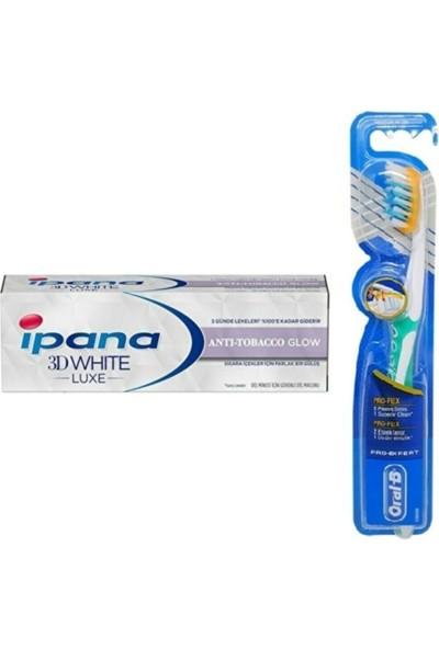Ipana 3 Boyutlu Beyazlık Diş Macunu Anti Tobacco Glow Sigara Içenler 75 ml + Oral-B Diş Fırçası Pro-Flex