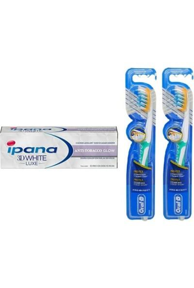 Ipana 3 Boyutlu Beyazlık Diş Macunu Anti Tobacco Glow Sigara IÇENLER75 ml + Oral-B Diş Fırçası Pro-Flex