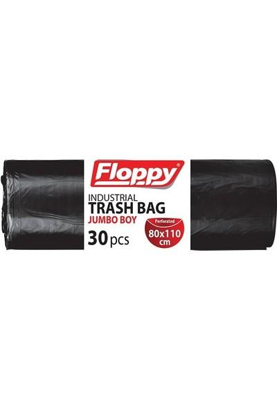 Floppy Endüstriyel Jumbo Siyah Çöp Torbası 1,2 kg 80 x 110 cm 30'lu x 6