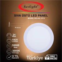 Heslight 24W LED Panel Sıva Üstü Yuvarlak
