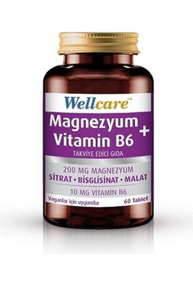 Wellcare Magnezyum+Vitamin B6 Takviye Edici Gıda 60 Tablet