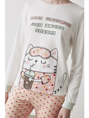 Penti Çok Renkli Coffee Cat Termal Pantolon Takımı