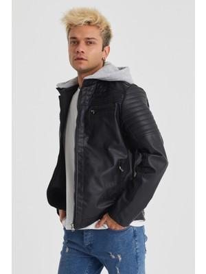 DCS Collection Slim Fit Dar Kesim Kapşonlu Erkek Deri Ceket Mont 7006
