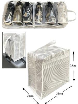 Elasya Hediyelik Ayakkabı Saklama ve Taşıma Çantası (Çizgili Model) Shoe Tote