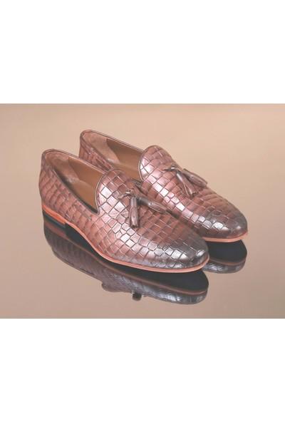 King West 1051 Hakiki Deri Erkek Klasik Ayakkabı - NKT01051-KAHVERENGI-44