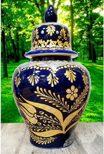Otogar Çini El Yapımı 30 cm Çini Şah Küp Lacivert -Gold ve Gümüş