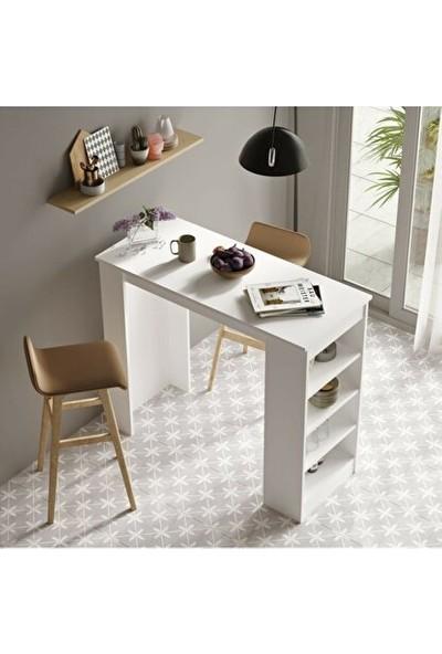 Ersa Wood Bar Masası Mutfak Yemek Masası Beyaz St1-W 1581028