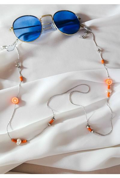 Cosibella Kadın Tasarım Turuncu Meyveli Gümüş Zincir Gözlük Askısı ve Güneş Gözlüğü Aksesuarı