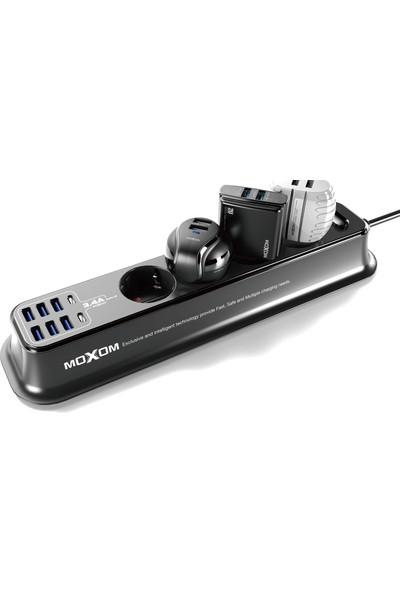 Moxom Akım Korumalı Uzatmalı Priz 6 USB & 2typce 4 Socket Siyah