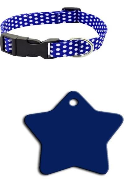 The Passage Desenli Ayarlanabilir Köpek Boyun Tasması M Boy 25 - 40 cm + Büyük Yıldız Künye