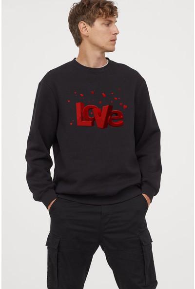 Grif Love Baskılı Erkek Sweatshirt