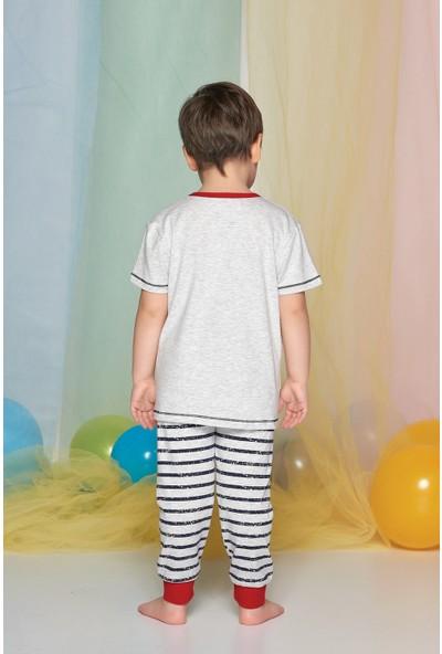 Sevim Erkek Çocuk Kar Melanj Pijama Takımı Kısa Kol
