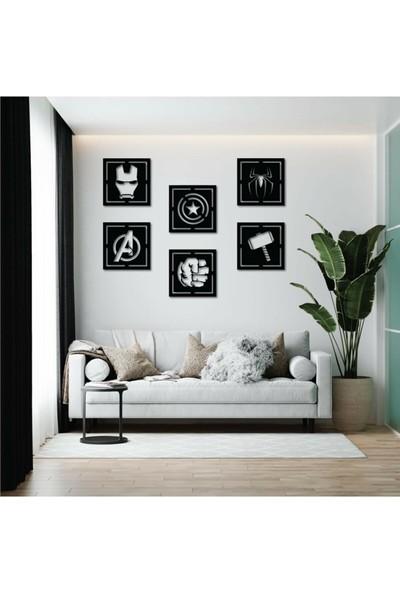 Balım Kare Avangers 30X30 6 Parça Siyah Ahşap Lazer Kesim Duvar Dekorasyon Ürünü