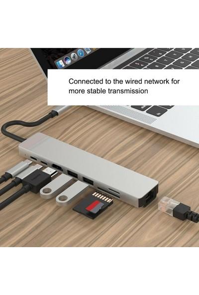 Brs Type-C 8in1- USB 3.0 Hub HDMI Ethernet Mikro Sdtf Otg Adaptörü