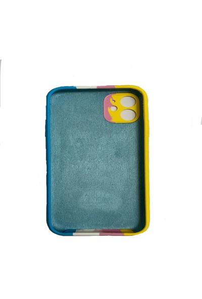 Agateks Apple iPhone12 Gökkuşağı Silikon Kılıf