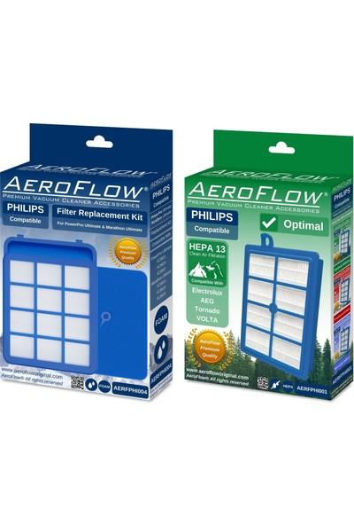 Aeroflow Philips FC9911/01 2200W Uyumlu Marathon Ultimate Filtre Seti (Ön Filtre + Standart Hepa 13)