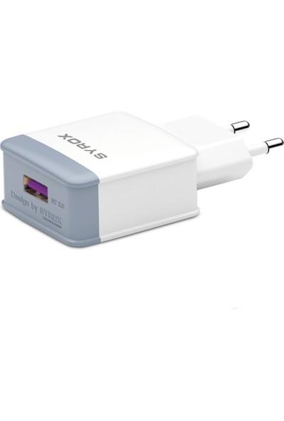 Syrox Q31 Hızlı Şarj Adaptörü (Başlık) 3.0A 18W Beyaz