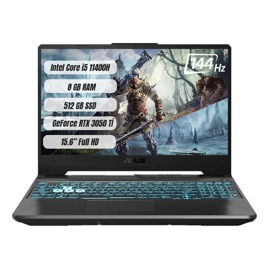 "Asus TUF Gaming F15 FX506HE-HN011 Intel Core i5 11400H 8GB 512GB SSD RTX 3050Ti Freedos 15.6"" FHD Taşınabilir Bilgisayar"