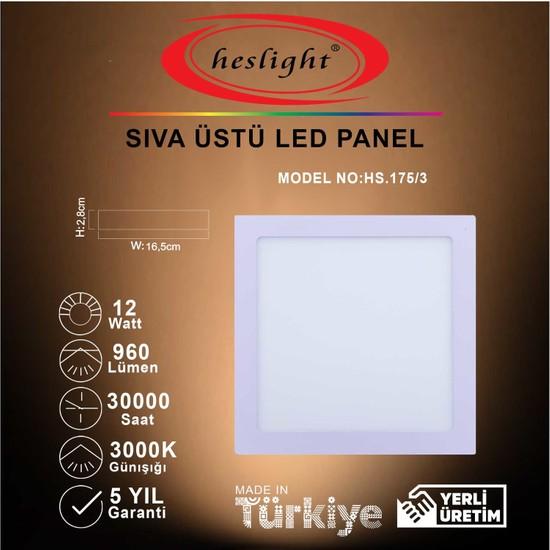 Heslight 12W LED Panel Sıva Üstü Kare