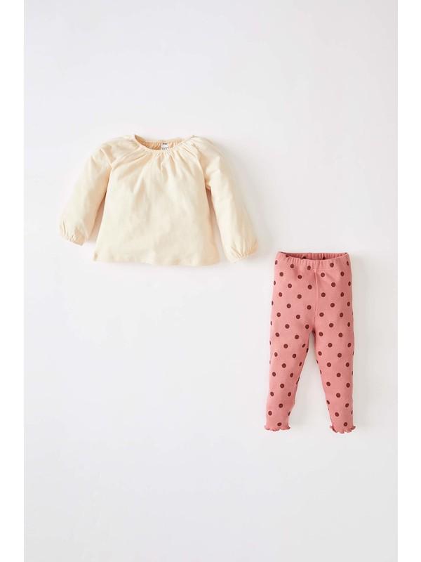 Defacto Kız Bebek Puantiyeli Pamuklu Tişört ve Tayt Takım V5372A221AU