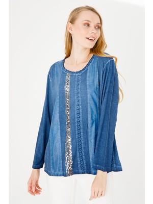 Desen Triko Kadın Sıfır Yaka Uzun Kol Deri Işlemeli Penye Bluz Lacivert