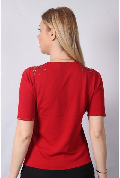 Sude Kadın Kırmızı Boncuk ve Payet Işlemeli El Işi Ithal Triko 7130