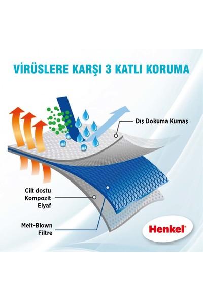 Henkel 3 Katlı Meltblown Filtreli Ultrasonik Telli Cerrahi Maske 50'li